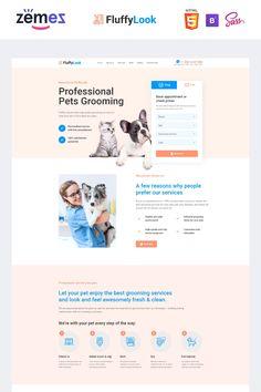 FluffyLook - Pet Grooming Clean Landing Page Template Landing Page Examples, Best Landing Pages, Landing Page Design, Web Design Mobile, Design Ios, Flat Design, Page Template, Website Template, Templates
