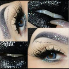 Black & Silver Glitter Makeup Look | Glitter Liner, Ombré Brow, Black Sparkle Lipstick | Glamorous Dark Look