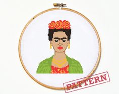 Frida Kahlo, the artistic icon! Stitch your own piece of Fridamania with this downloadable PDF cross stitch pattern.  The design is 62 by 71 stitches, or approximately 4.4 by 5 inches when using 14 count Aida cloth.  PDF Pattern includes: - Color chart - Black and white symbol chart