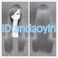 4e15ed1e416 Quicksilver Cosplay Long Silky Grey Sliver Straight Hair Full Wigs + Cap