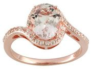 1.70ct Oval Morganite And .44ctw Round White Zircon 18k Rose Gold Over Sterling Silver Ring (DOCZ387)