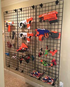 Looking to successfully store your child's Nerf gun collection? Here are some amazing Nerf gun storage solutions including an easy Nerf gun peg board hack. Kids Storage, Toy Storage, Storage Ideas, Storage Solutions, Nerf Gun Storage, Kids Room Organization, Boys Room Decor, Boys Playroom Ideas, Kid Decor