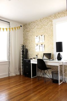 Bold wall decor makes this a fun work environment!