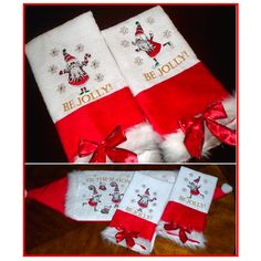 """""""Stripey Santa"""" This whimsical #ChristmasEmbroidery set includes 4 Stripey Santas, 4 stockings, a snowflake, and word files to embroider: Tis the Season to Be Jolly! Ideal for festive towels, decor and more this holiday season!"""
