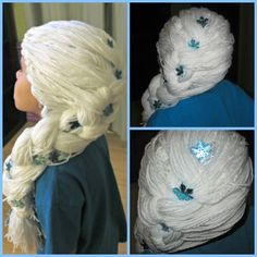 DIY Elsa Yarn Wig Dress Up Costumes, Costume Wigs, Diy Costumes, Hair Yarn, Yarn Wig, Halloween Crafts For Toddlers, Toddler Halloween, Knit Or Crochet, Crochet Gifts