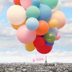 Je taime love Paris balloons