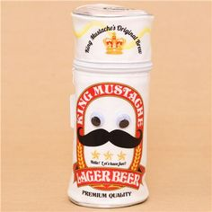 funny round beer can with moustache pencil case from Japan