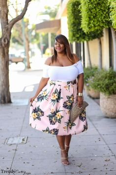 I love off the shoulders tops!!! This skirt is fun and cute and out of my comfort zone but I think would get a lot of compliments!