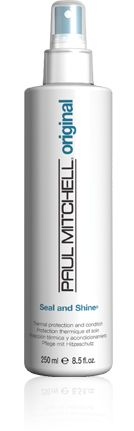 TO TRY: Paul Mitchell Seal and Shine: Shields hair from damage caused by blow dryers and hot irons.