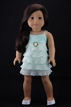 "American Girl doll clothes - Ruffled strappy tank top dress (fits 18"" doll) (455grn)"