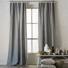 bordered curtains with rings