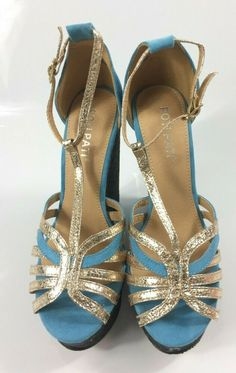b57bb5774b Womens Blue/Gold T Strap Sandals Ladies High Wedge Heel Strappy Shoes Size  3 New