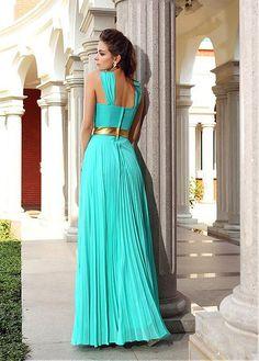 Marvelous Chiffon Halter Neckline Floor-length Sheath Prom Dresses