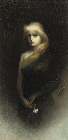 """Gretchen-An Allegory of Lost Love"" ⚜️ Artist: Karl Wilhelm Diefenbach Medium: oil on canvas Date: c. 1892 Dimension: 29 x 14 ¾ in. x cm. Moonlight Painting, Love Oil, Best Portraits, Lost Love, Musa, Romanticism, Old Master, Dark Art, Oeuvre D'art"