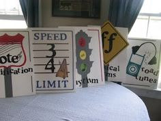 SINGING TIME IDEA: Musical road signs for games. Awesome idea!!