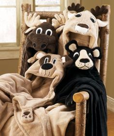 Snuggly animal head blankets that are perfect for scaring your pet.