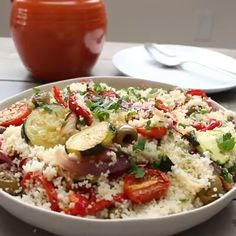 The Ultimate Roasted Vegetable Couscous Recipe - Jamie Geller Morrocan Food, Mediterranean Couscous, Roasted Vegetable Couscous, Roasted Vegetables, Dinner Side Dishes, Dinner Sides, Vegetarian Recipes, Cooking Recipes, Side Dishes
