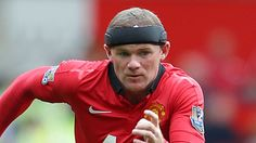 "Wayne Rooney of Manchester United wearing a ""protective headband."" #Fashion #Uniform #Soccer #OOTD"