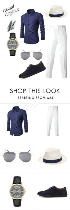 """Untitled #5"" by merima022 on Polyvore featuring Neil Barrett, Yves Saint Laurent, Borsalino, Emporio Armani, men's fashion and menswear"