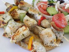 Chicken Souvlakia and Makaronosalata me Kotopoulo (Pasta Salad with Chicken)