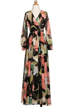 womens floral chiffon Dress w Long sheer Sleeve Flowy Drapey Maxi party Dress