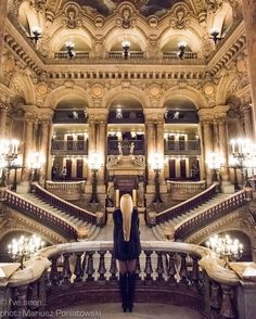 Beautiful interior of Opera Garnier, Paris, France.