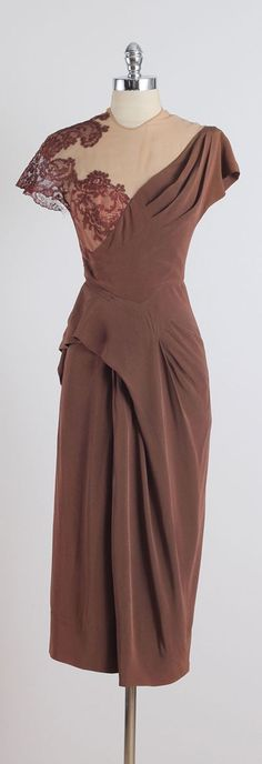 1940s Rayon Crepe Illusion Cocktail Dress | From a collection of rare vintage evening dresses at https://www.1stdibs.com/fashion/clothing/evening-dresses/ #vintageclothing