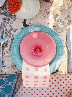 Mod. pink. blue. dots. Beth Helmstetter Events.