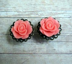 """Pair of Rose Plugs on Antique Brass Filigrees - TONS of colors - Handmade Girly Gauges - Bridal Plugs - Formal - by WhimsyByKrista, $25.00  Available in sizes: 1/2"""", 9/16"""", 5/8"""""""