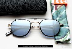 Garrett Leight Grant eyeglasses with clip-on lenses