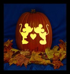 Mickey Minnie Love - Hand Carved on a Foam Pumpkin - Plug in light with Switch included.