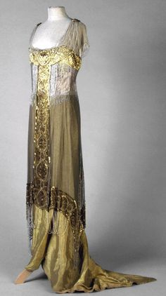 Gold silk satin with gold sequins embroidered overdress, byzantine pattern, 1913 Paris