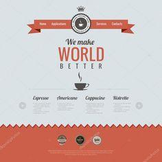ダウンロード - ビンテージのウェブサイトのデザインのテンプレートです。コーヒーのテーマです。html5 のレトロなスタイル。ベクトル — ストックイラストレーション #26126501