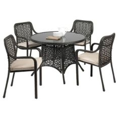 Biscayne 4 Seat Set - Black from Tesco direct Contemporary Garden Furniture, Modern Furniture, Outdoor Furniture, Conservatory Furniture, Tesco Direct, Outdoor Tables, Outdoor Decor, Furniture Sets, Home And Garden