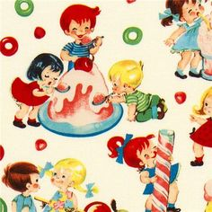 Michael Miller fabric Candy Shop children sweets  white designer fabric  from the USA with children and many sweets