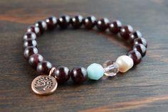 • Garnet Bracelet - Womens Beaded Bracelet - Tree of Life Bracelet - Women's Christmas Gift - Womens Yoga Bracelet - Lotus and Lava Bracelet •