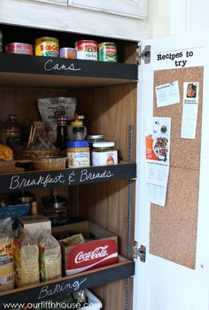 pantry with chalkboard labels and cork board for recipes