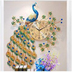 SMC wall clock Simple Modern Peacock Clock European Home Living Room Quiet Atmosphere Wall Clock Quartz Clock Wall Clock Design, Wall Art Designs, Big Wall Clocks, Peacock Wall Art, European House, Home Clock, Home Living Room, Living Room Clocks, Stylish Bedroom