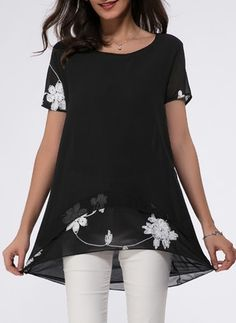 8ed6bea24586a Floral Casual Chiffon Round Neckline Short Sleeve Blouses Ladies Blouses