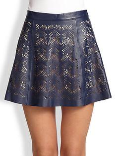 Parker - Filomena Laser-Cut Leather Skirt