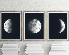 Moon Triptych - PRINTABLE FILE. La Luna Moon Art. Lunar Moon Print. Set of 3. Moon Prints. Solar System Art. Celestial Dorm Room Art.