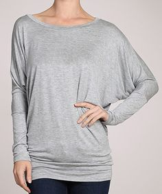 Loving this Gray Boatneck Dolman Top on #zulily! #zulilyfinds