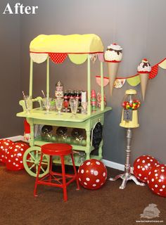 Tea Cart Transforms into Ice Cream Cart! Brilliant - the Creative Orchard. May be a good idea for my grandmothers tea cart.