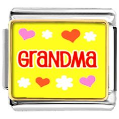 Italian Charm Bracelet Grandma Hearts Flowers Pugster.com