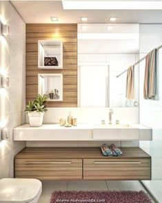 The bathroom with modern design is the perfect option for a contemporary home. Modern Master Bathroom, Modern Bathroom Design, Bathroom Interior Design, Small Bathroom, Spa Bathrooms, Bathroom Sink Decor, Bathroom Layout, Bathroom Storage, Ideas Baños