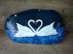 Swan painted rock