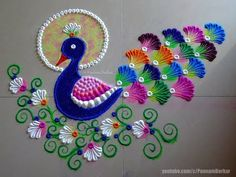 Rangoli Art is the traditional art of India. It is believed that having Rangoli Design in front of your house brings good luck apart from home decoration. Rangoli Designs Peacock, Easy Rangoli Designs Diwali, Rangoli Simple, Rangoli Designs Latest, Simple Rangoli Designs Images, Free Hand Rangoli Design, Small Rangoli Design, Rangoli Border Designs, Rangoli Ideas