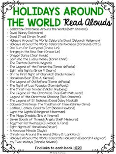 Day of Winter: 12 Holiday Books by The Primary Peach around the world read alouds Around The World Theme, Schools Around The World, Around The Worlds, Holiday Themes, Christmas Activities, Holiday Crafts, Social Studies Activities, Multicultural Activities, Preschool Books