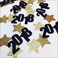 2018 New Years Eve Party Confetti With Gold Glitter Stars