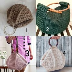 Crochet Bag Tutorials, Crochet Basics, Crotchet Bags, Knitted Bags, Diy Bags Purses, Diy Purse, Crochet Handbags, Crochet Purses, Sac Granny Square